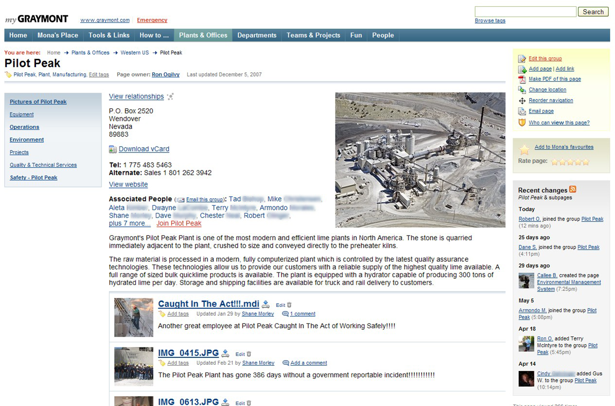Screenshot of ThoughtFarmer page for the Pilot Peak quarry