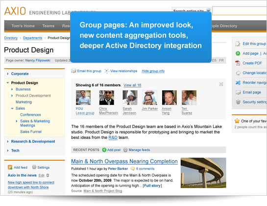 [screenshot] New Group Pages: Improved look, content aggregation tools and deeper Active Directory integration