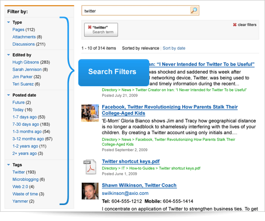 Search Filters in ThoughtFarmer 3.6