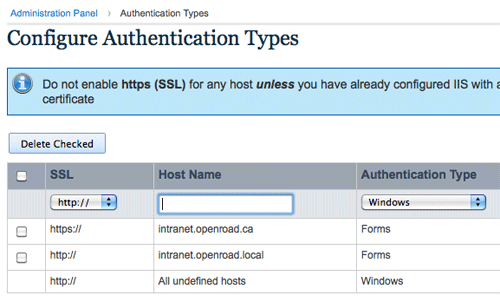 [screenshot] Authentication Types administration screen