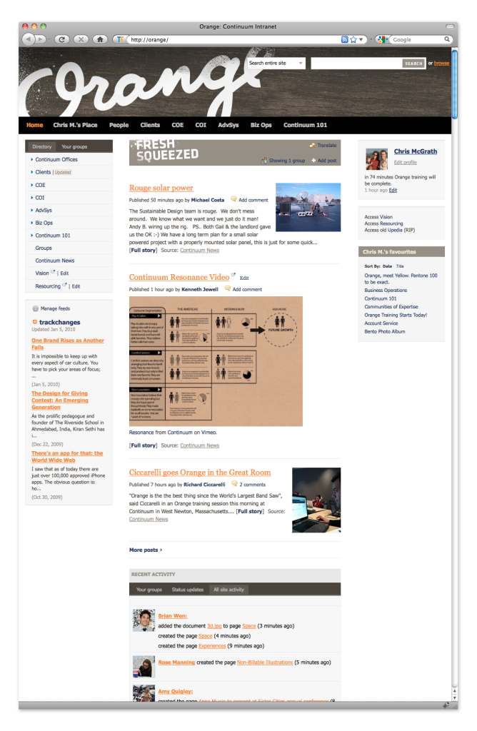 Social Intranet Software By ThoughtFarmer - Continuum Screenshot