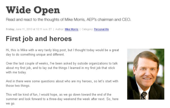 CEO blog on AEP intranet
