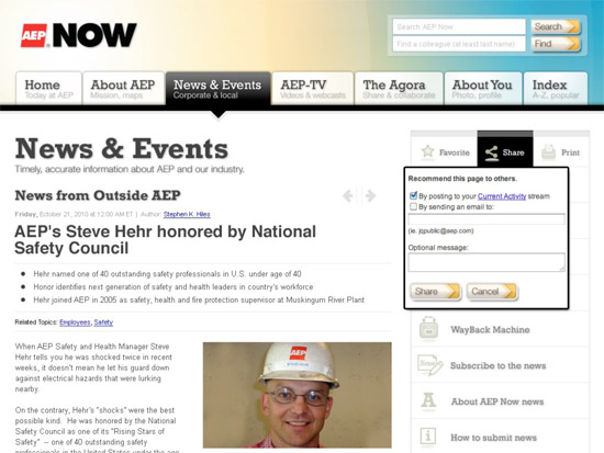 News story on AEP intranet