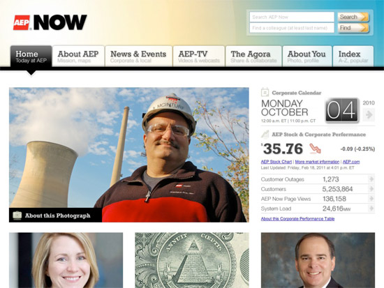 Homepage of AEP NOW intranet