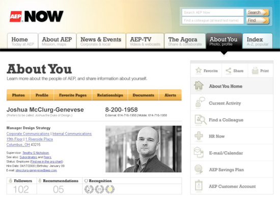Profile page on AEP intranet