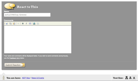 """""""React to this"""" comment box on AEP intranet"""
