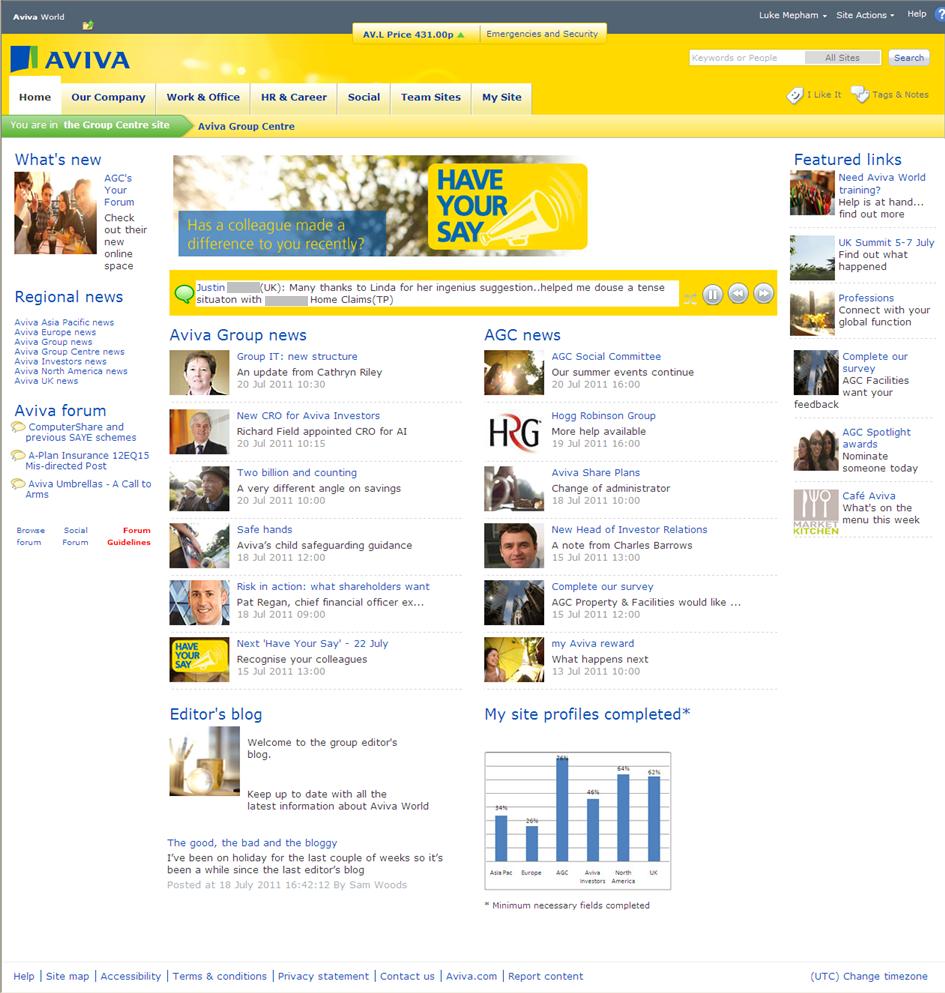 Aviva homepage