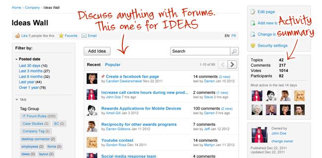 Forums screenshot - ThoughtFarmer 5.5