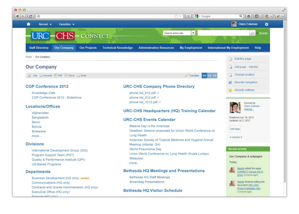 URC-CHS Intranet Collaboration Company Pages