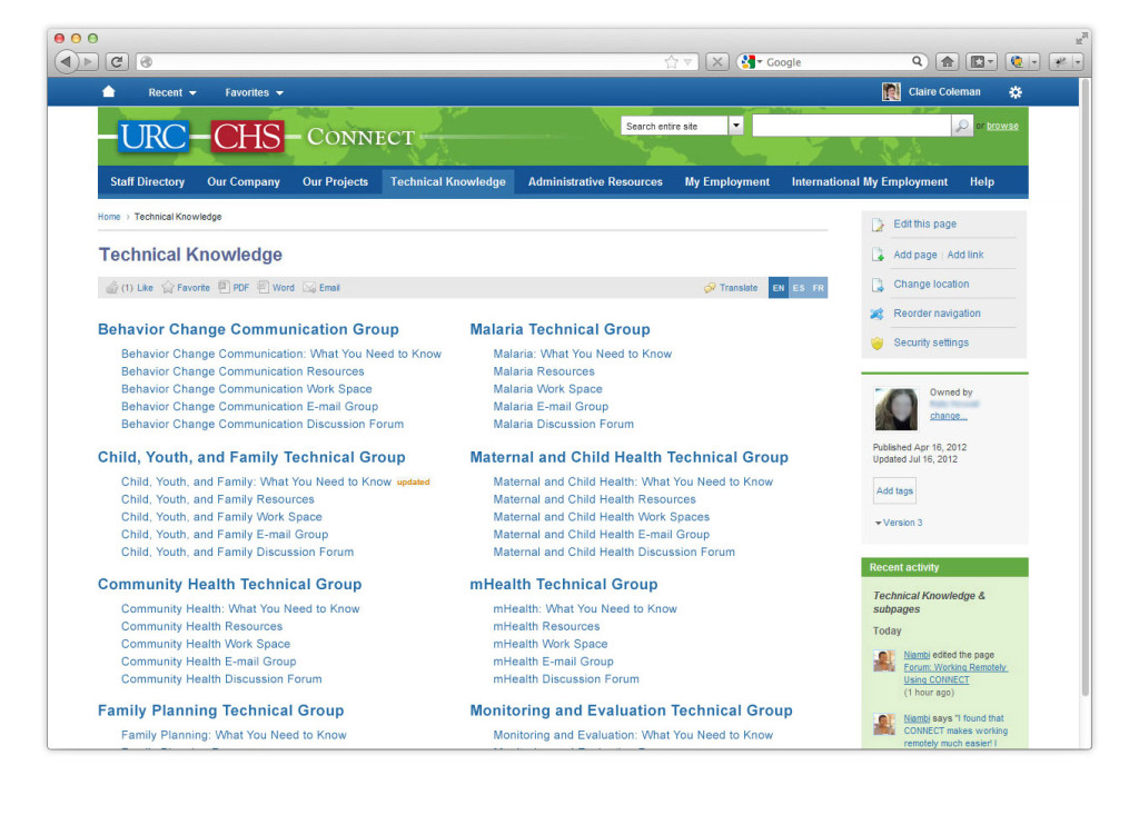 Technical Knowledge Intranet Collaboration at URC-CHS