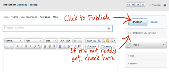 Publish an intranet page