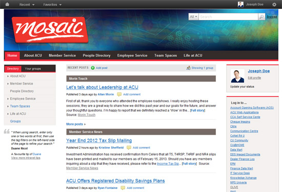 Bank Intranet Example - Assiniboine Credit Union