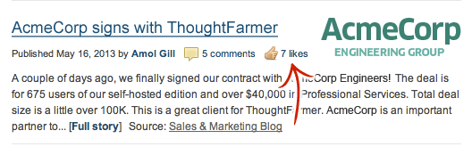 Screenshot - Like intranet news items directly from the home page