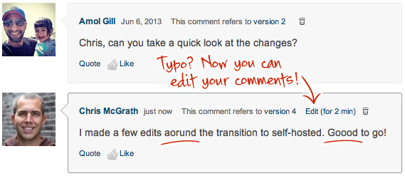 "Users often notice their typos immediately after hitting the ""Post reply"" button."