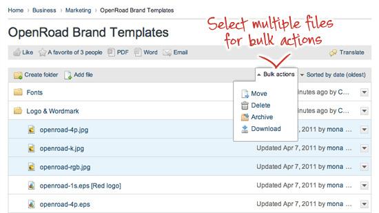 Intranet folders - Bulk actions