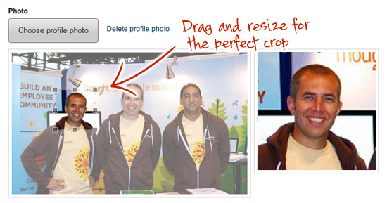 Cropping an intranet profile photo