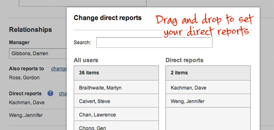 UI for set direct reports