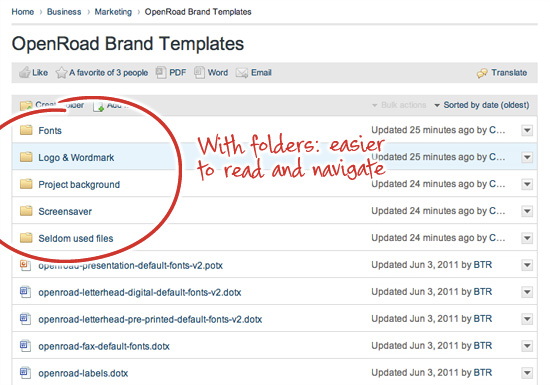 Example of intranet folders