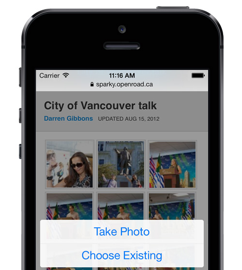 Take a photo or choose an existing one to add to your intranet from your iPhone