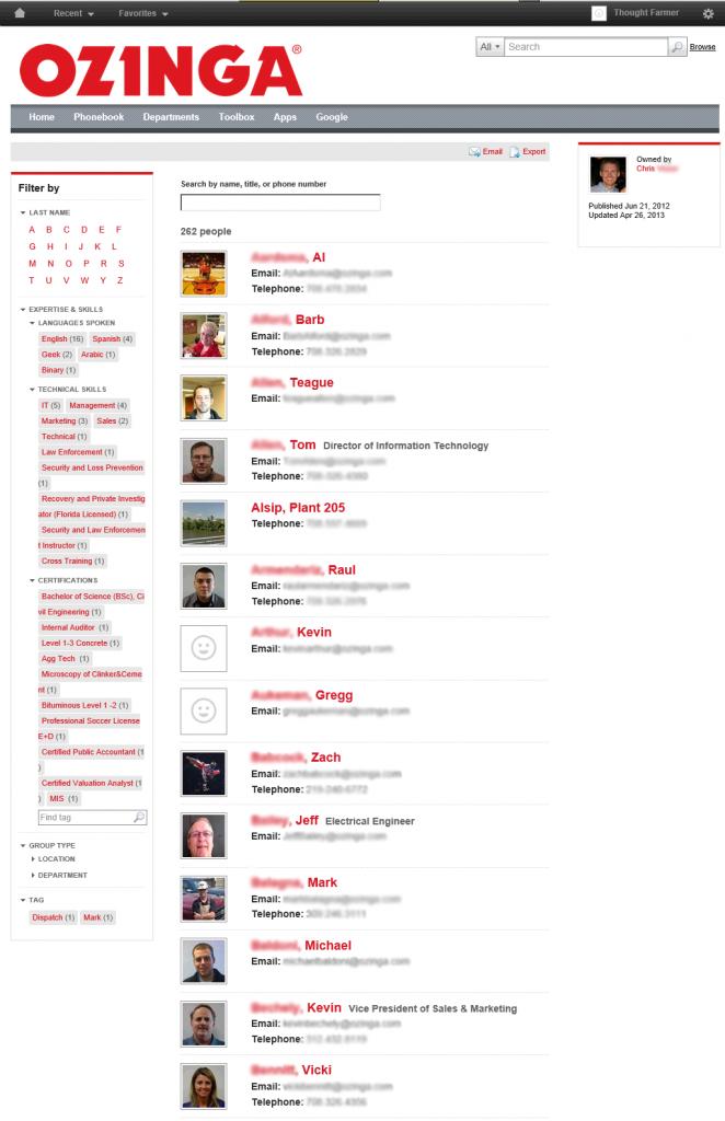 Ozinga intranet employee directory