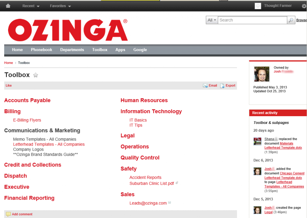 Ozinga intranet tools