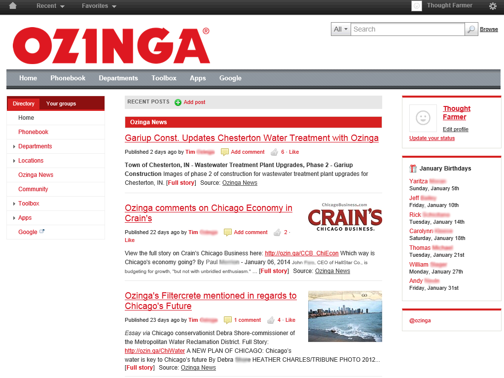 Ozinga intranet homepage