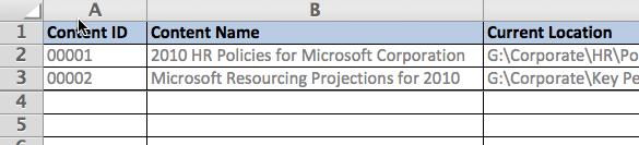 Screenshot - Intranet content migration spreadsheet