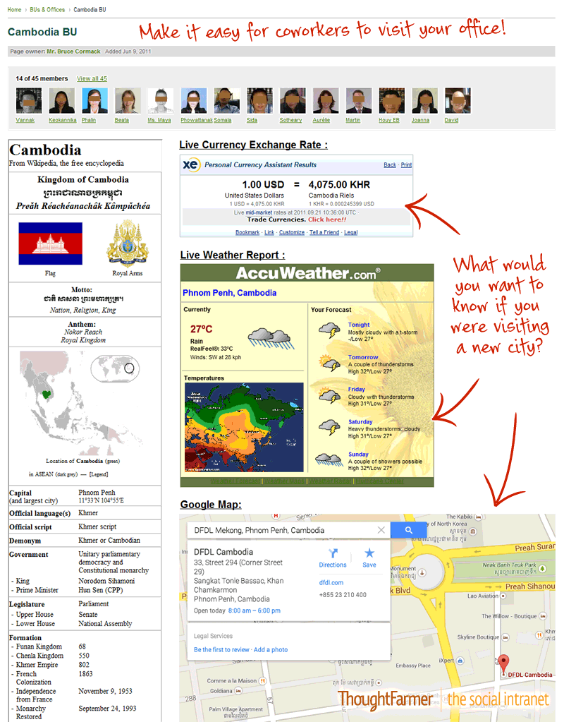 Screenshot of an office location page