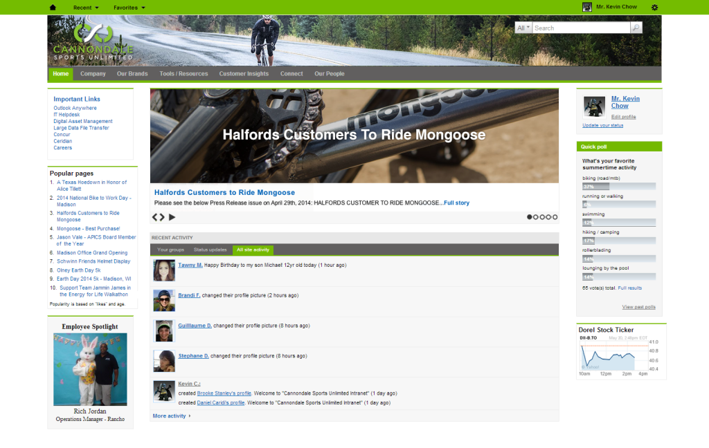 Cannondale's ThoughtFarmer Intranet