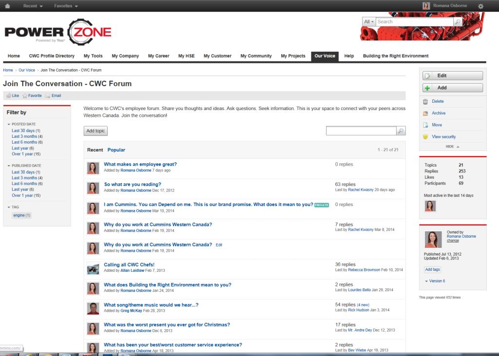 Cummins intranet forum