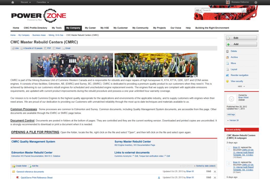 Cummins intranet page