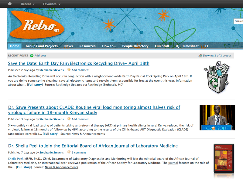 Notice the first news article on the home page of RetroNET, the intranet of the US Military HIV/AIDS Research Project. It reminds employees of the upcoming Earth Day Fair and Electronics Recycling Drive.