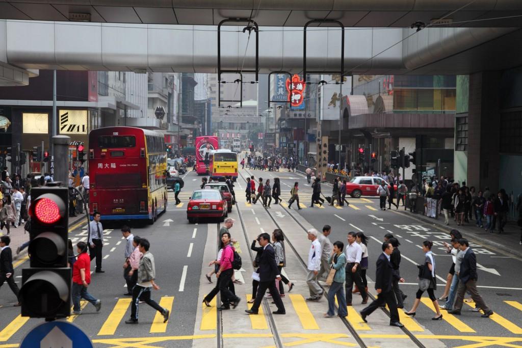 intersection busy street hong kong