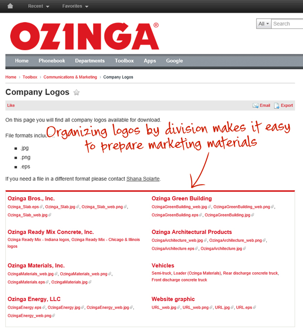 Ozinga intranet organizing logos